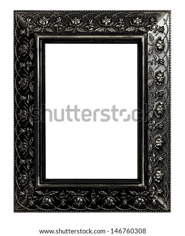 The antique picture frame isolated on white background - stock photo