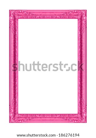 The antique pink  frame on the white background  - stock photo