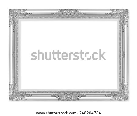 The antique silver frame on the white background - stock photo