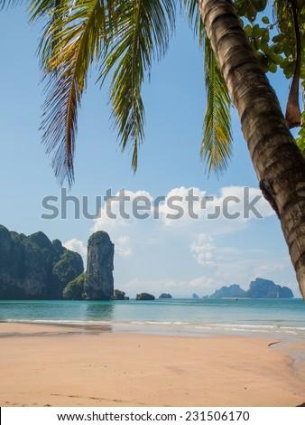 The AoNang beach in Krabi Thailand - stock photo