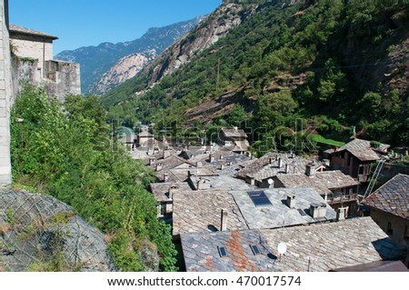 The Aosta Valley, Italy: view of the roofs of the medieval village of Bard on July 29, 2016. The medieval village of Bard is the smallest town in the Aosta Valley
