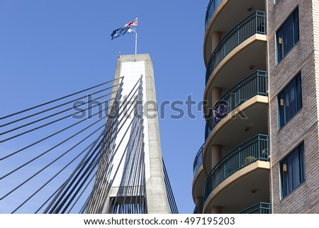 The apartment building built next to Anzac bridge in Sydney (New South Wales).