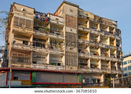 The appearance of apartments in Phnom Penh. The Capital Of Cambodia