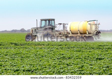 The application of pesticides on a commercial agricultural field with Yellow Squash - stock photo