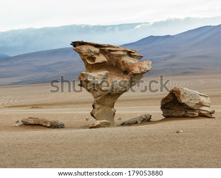 The Arbol de Piedra (Stone Tree) is a volcanic rock formation in the Desierto Siloli in Bolivia. - stock photo