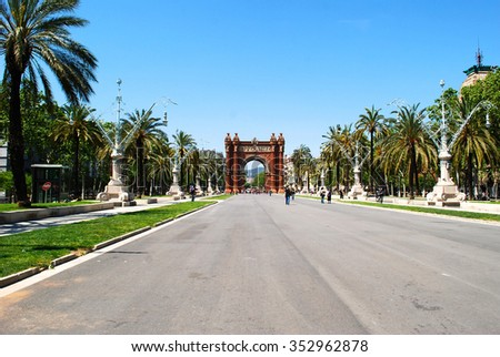 The Arc de Triomf in Barcelona as an Arch of Triumph - stock photo