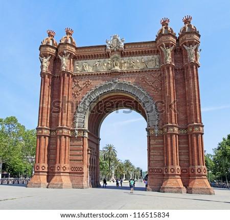 The Arc de Triomf in Barcelona, Spain - stock photo