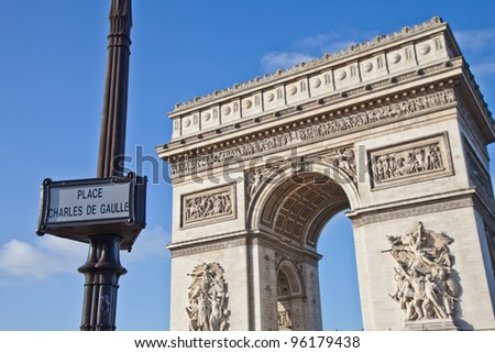 The Arc de Triomphe (Arc de Triomphe de l'��?toile) is one of the most famous monuments in Paris. It stands in the centre of the Place Charles de Gaulle, at the western end of the Champs-��?lys���©es - stock photo