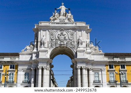 The arch at the Plaza of Commerce, Lisbon, Portugal - stock photo