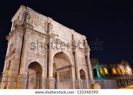 The Arch of Constantine and the Coliseum, Rome, Italy - stock photo