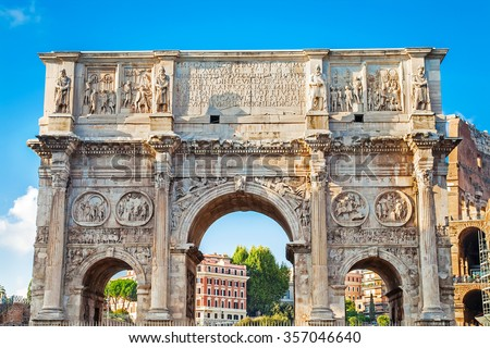 The Arch of Constantine (Arco di Costantino), a triumphal arch in Rome, situated between the Colosseum and the Palatine Hill in Rome, Italy - stock photo