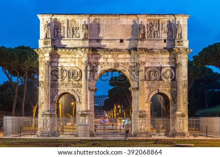 The Arch of Constantine in a summer night in Rome, Italy - stock photo