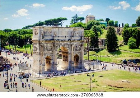 The Arch of Constantine view from the Colosseum. This is a triumphal arch in Rome, Italy. - stock photo