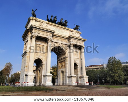 The Arch of Peace, Milan, Lombardy, Italy - stock photo