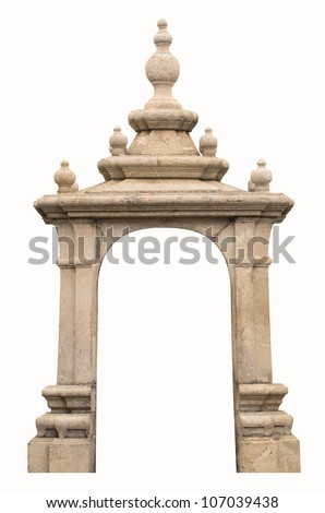 The arch of the ancient isolated on white. - stock photo
