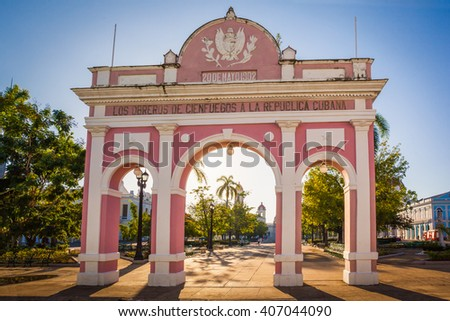 The Arch of Triumph  in Jose Marti Park, Cienfuegos, Cuba. The arch is a monument to Cuban independence. - stock photo
