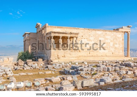 The archaeological site of Acropolis is famous for preserved antique temples and shrines, The Erechtheion in one of them, Athens, Greece