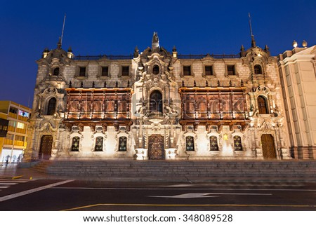 The Archbishop Palace of Lima at night, located on the Plaza Mayor of Lima, Peru - stock photo