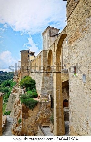 The arches of Pitigliano, famous village built on tuff of Tuscany