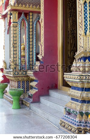 The architectural decorative elements in the Buddhist Temple, Bangkok, Thailand