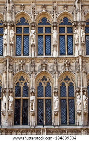 The architectural detail of Brussels Town Hall/City Hall located in Grand Place. - stock photo