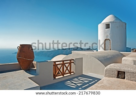 The architecture of Imerovigli, Santorini, Greece - stock photo