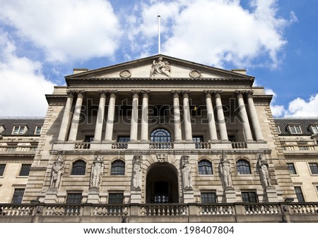 The architecture of the Bank of England located in the City of London. - stock photo