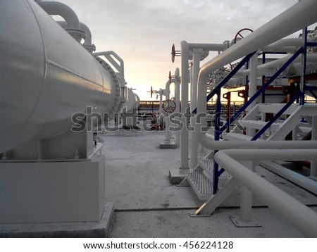 The area of the equipment to cool the oil product.  Equipment for primary oil refining. - stock photo