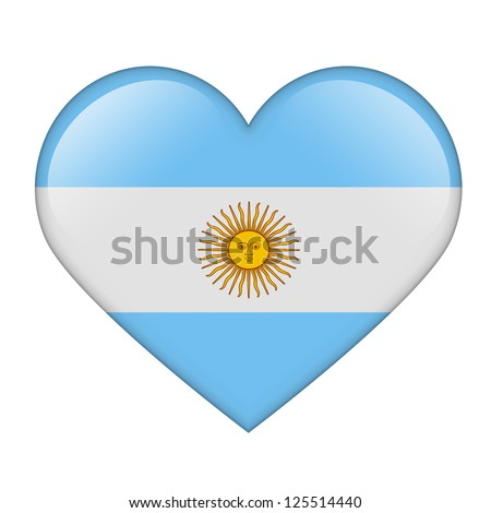 The Argentine flag in the form of a glossy heart - stock photo