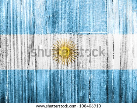 The Argentine flag painted on wooden pad - stock photo