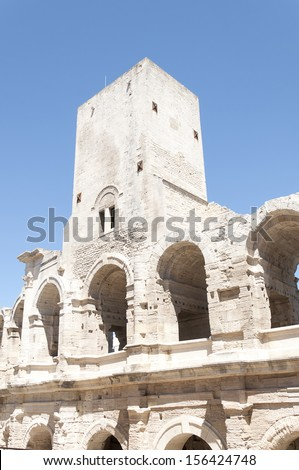 The Arles Amphitheatre is a Roman amphitheater in the southern French town of Arles - stock photo