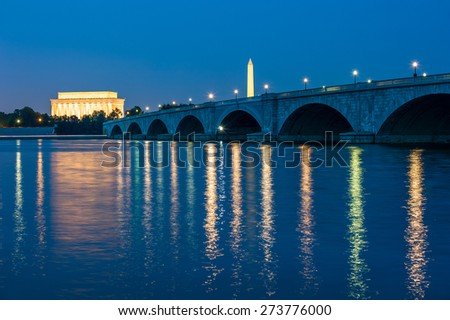 The Arlington Memorial Bridge in Washington, D.C.  - stock photo