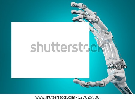 The arm holding a white rectangle for the label - stock photo