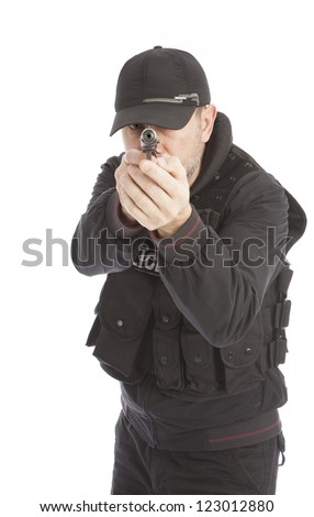 The armed person with the gun. Isolated on a white background.