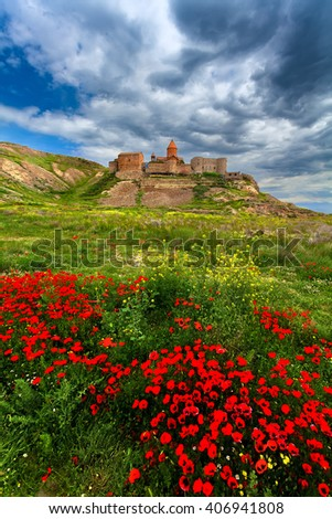 The Armenian Christian monastery of Khor Virap and red color in the green grass. - stock photo