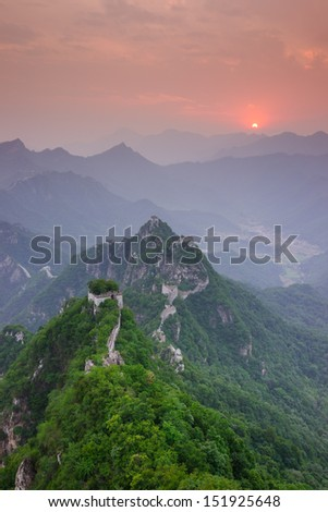 the Arrow buckle the Great Wall is the part of Mutianyu Great Wall in Beijing Huairou,it is the famous part of the Great Wall that was built in Ming Dynasty - stock photo