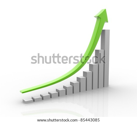 The arrow of the diagram shows growth and success. 3d render illustration - stock photo