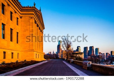 The Art Museum and skyline at sunset, in Philadelphia, Pennsylvania. - stock photo