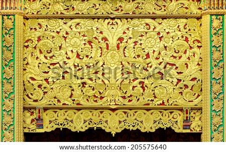 The art of carved wooden in Thailand temple. - stock photo