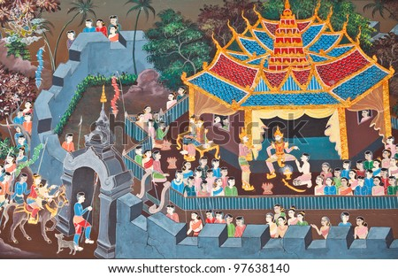 The Art of painting on wall in temple - stock photo