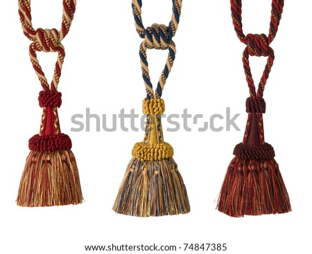 The art of tassels  for luxury curtain and drapery - stock photo