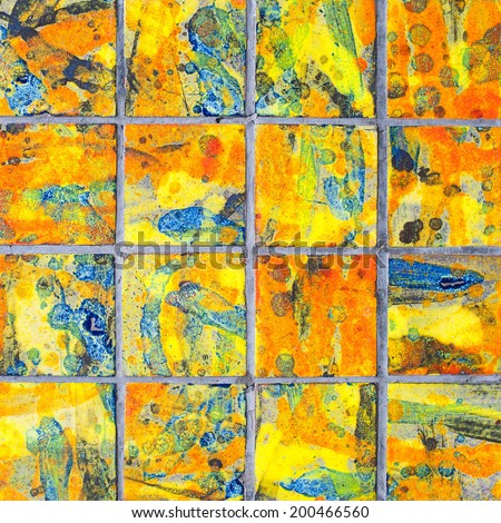The art vintage ceramic tiles wall decoration - stock photo