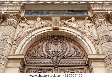 """The artful portal of the historic palace """"Le Prefecture"""" of Marseille in South France - stock photo"""
