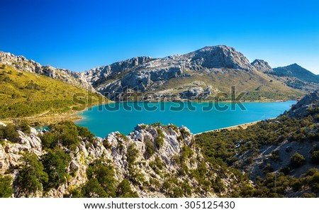the artificial Cuber lake in the Sierra de Tramuntana, Majorca, Spain - stock photo