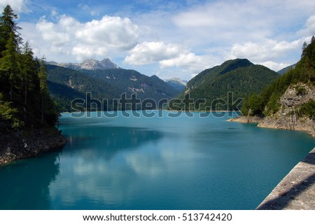 The artificial lake of Sauris (Lago di Sauris) in Friuli Venezia Giulia, Udine, Italy, Europe