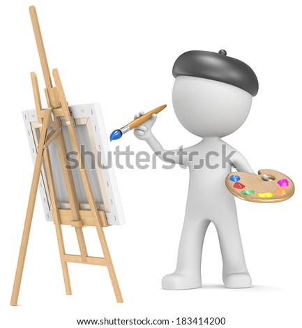 The Artist. Dude the Artist painting. Holding brush and palette. Front view. 3D little human character. - stock photo