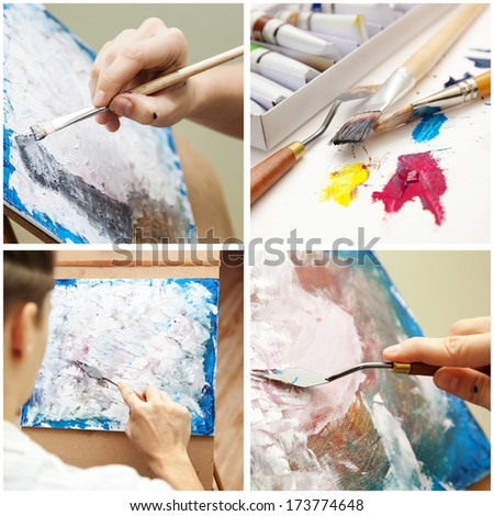 The artist paints a picture oil paints. Collage. - stock photo
