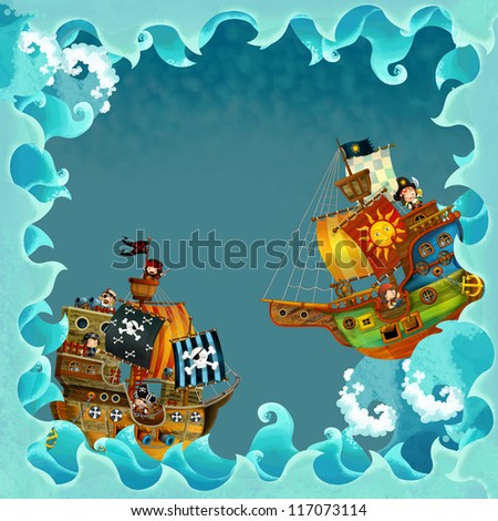 The artistic cartoon frame waves with pirate ship - illustration for the children