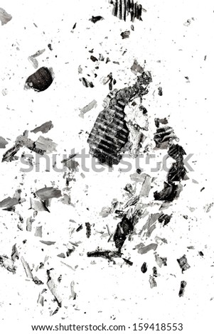 the ashes of the paper on a white background