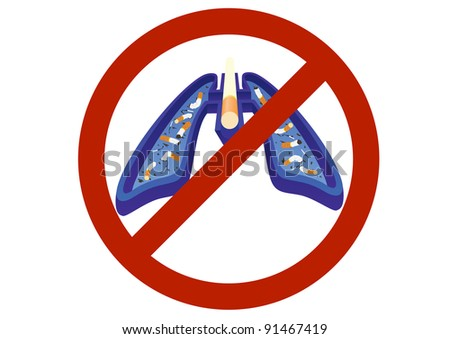 The ashtray and cigarette for the prohibitory sign - stock photo